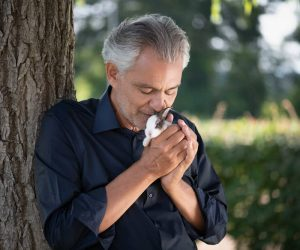 Andrea Bocelli with a little rabbit, credit by Giovanni De Sandre