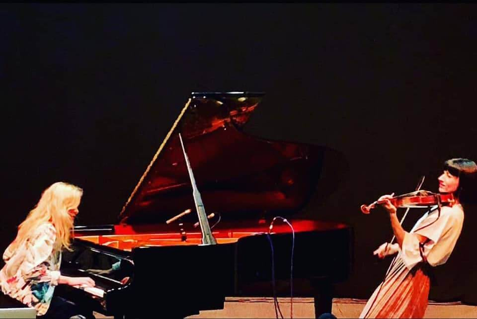 AVAWaves duo Aisling Brouwer and Anna Phobe at the Barbican Centre in London UK