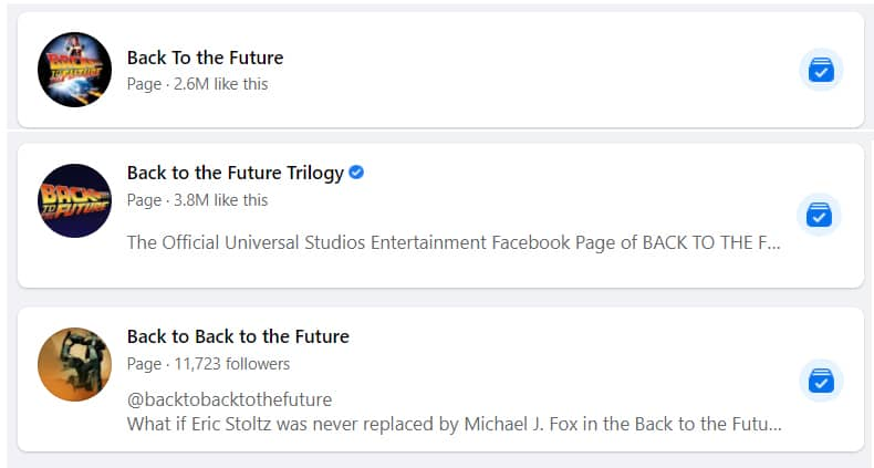 Back To The Future Facebook pages and fa groups