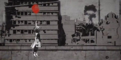 Baloon girl, With Syria, by Banksy