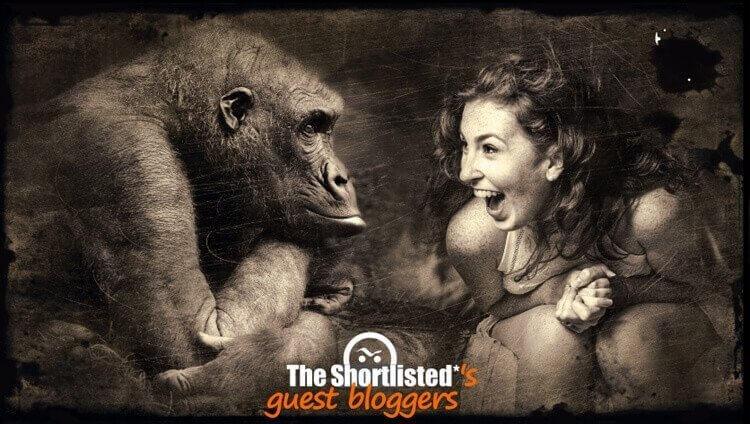 Big stupid monkey ape orango with idiot girl
