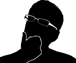 Vectorial illustration man in black and white in doubt doubtful