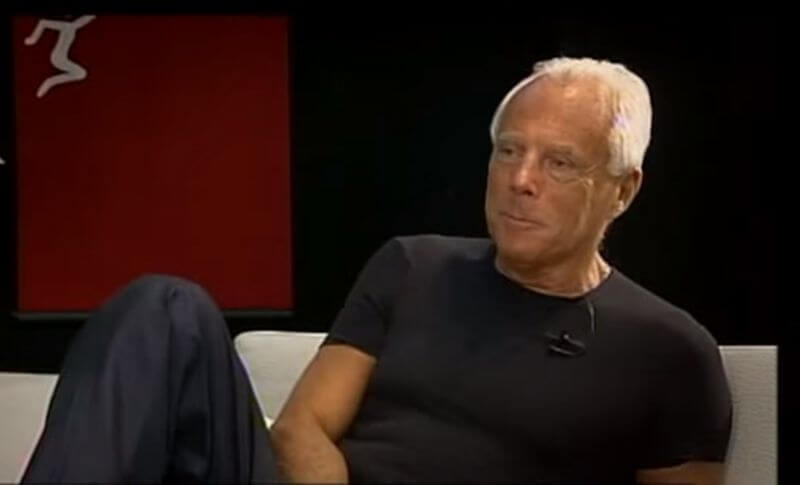 Interview with Giorgio Armani on a sofa, screenshot taken from YouTube copyright by Stina Dabrowski