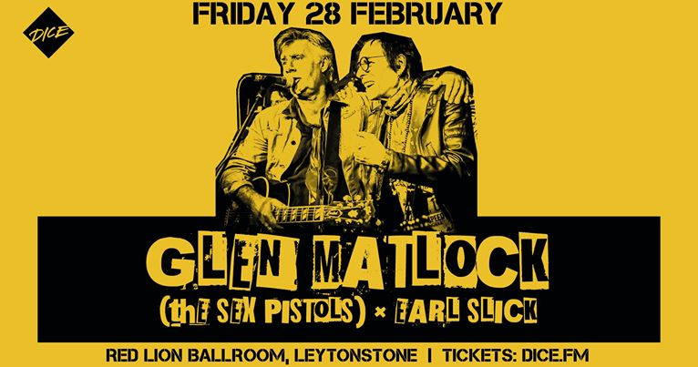 Glen Matlock and Earl Slick UK Tour yellow leaflet