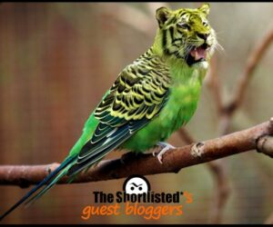Exotic green parrot with a weird and creepy tiger head