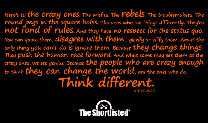 Think different: Steve Job's image quote black and orange