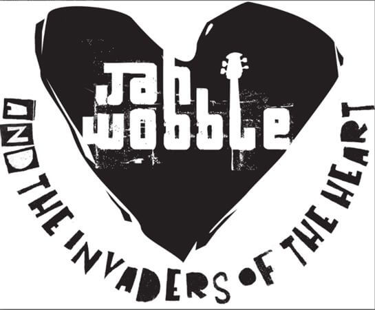Jah Wobble the invaders of the heart LOGO in black and white