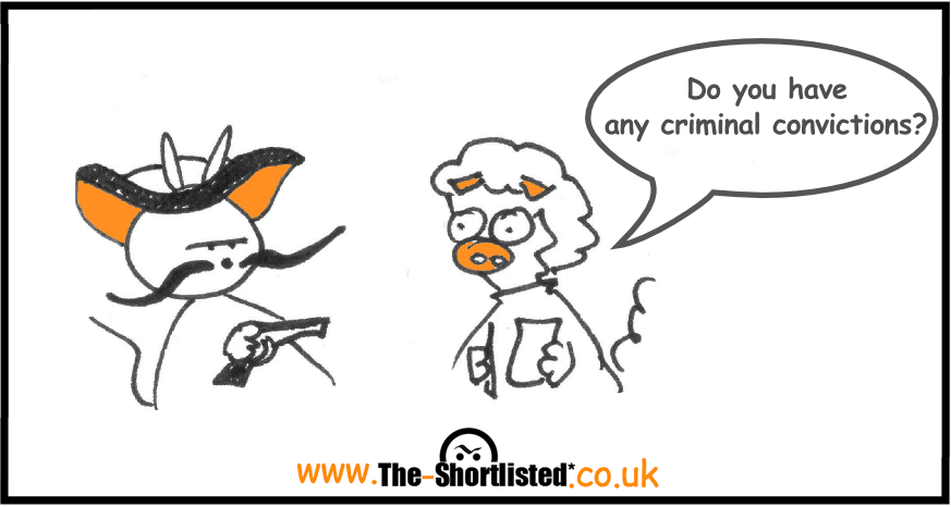 Funny job interview cartoons about the question do you have any criminal conviction