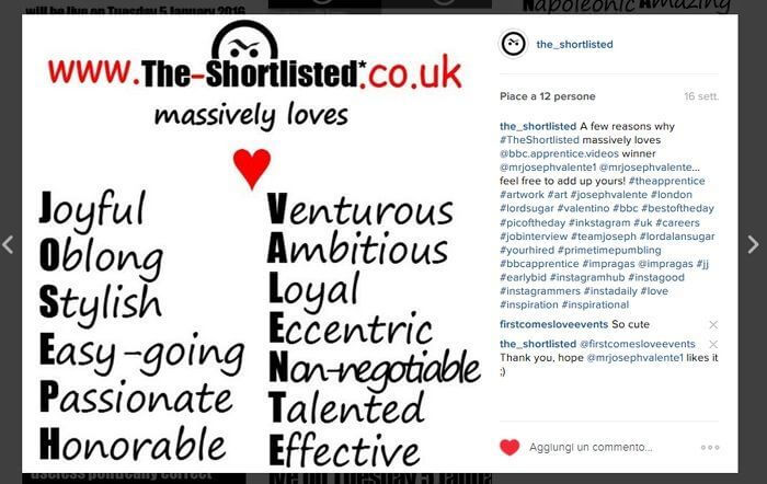 Joseph Valente Apprentice winner Instagram post
