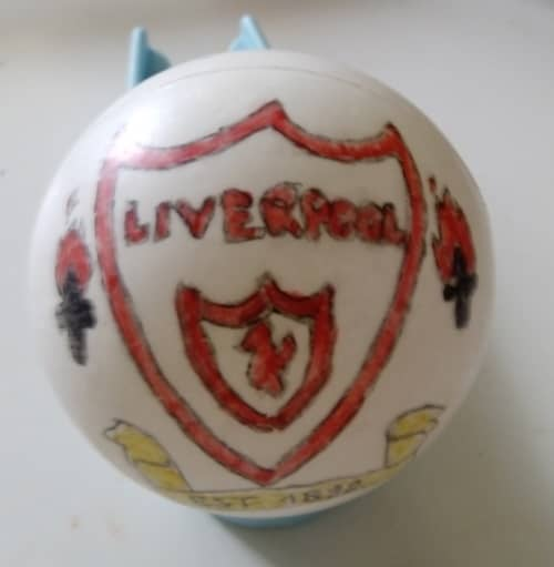ball decorated with Liverpool fc