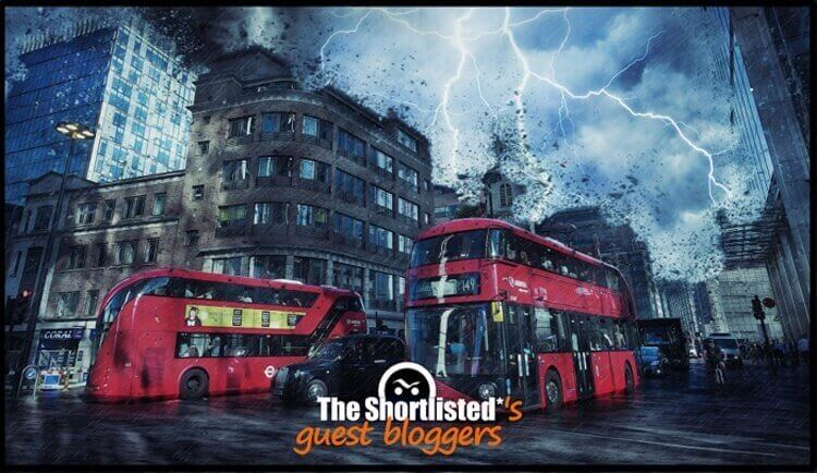 Brexit storm on London buses with rain