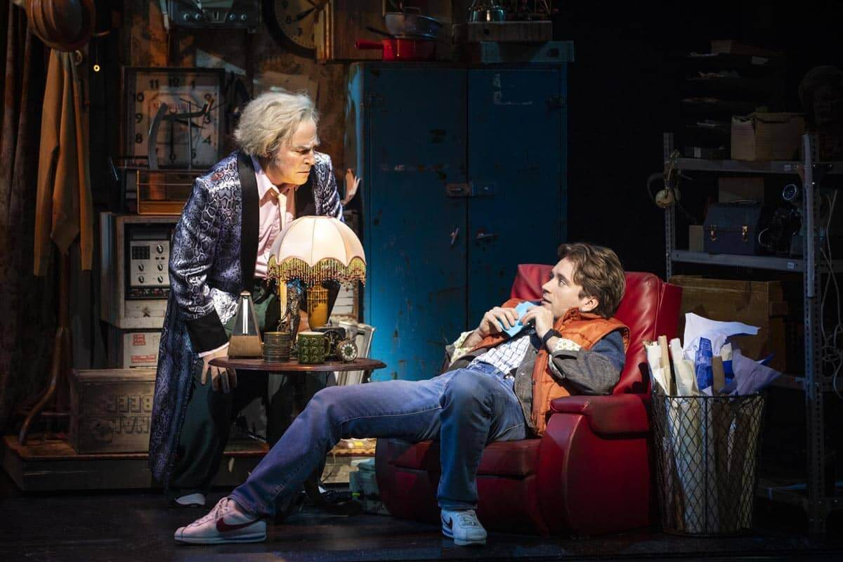 Roger Bart as Doc Brown and Olly Dobson as Marty McFly in Back To The Future: The Musical, by Sean Ebsworth Barnes ©