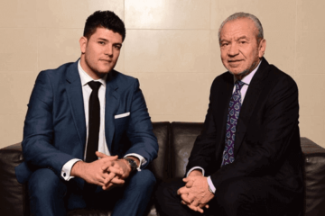 Mark Wright Apprentice winner and Lord Sugar sofa picture