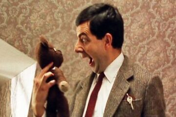 Mr Bean screaming to the teddy bear