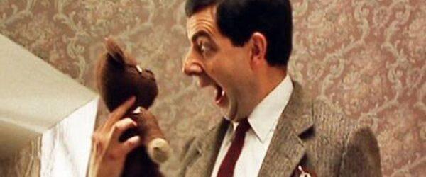 Mr Bean screaming to the teddy bear