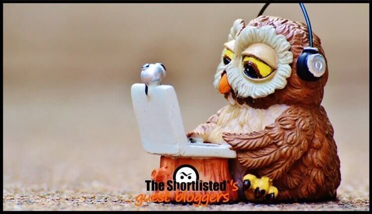 Funny night owl working on a personal computer