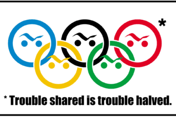 Olympics game funny logo and symbols cartoon with smiles
