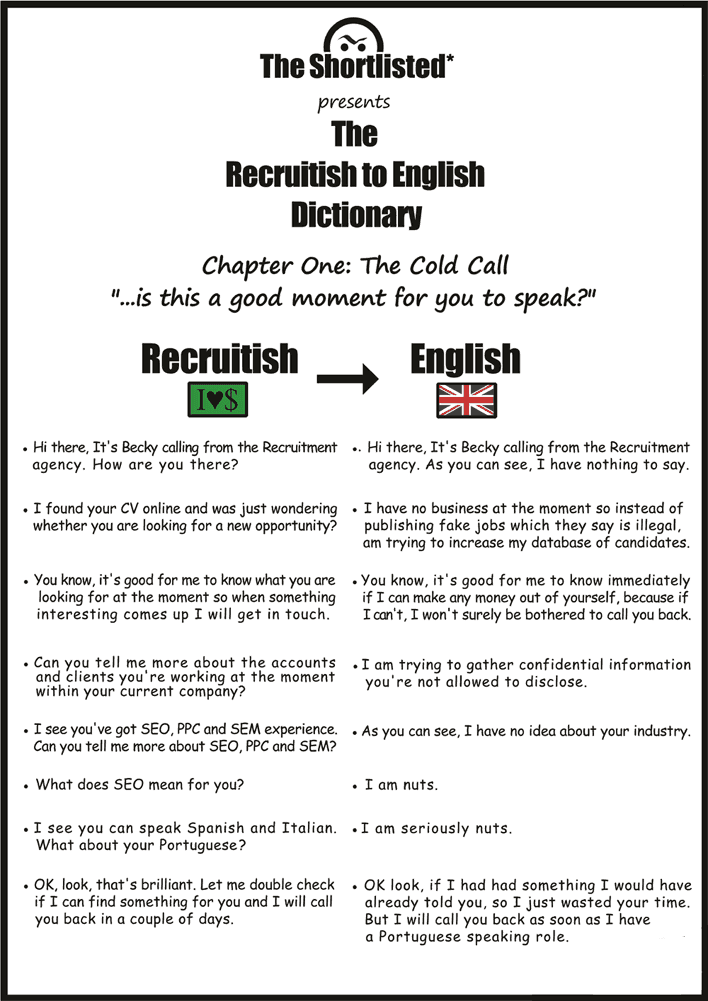 Job interview question funny checklist: call with a recruiter or HR