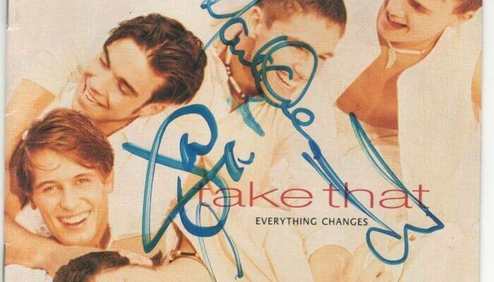 Take That Everything Changes signed album cover