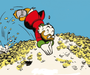 uncle-scrooge-comics-diving-in-the-money-copywright-by-walt-disney
