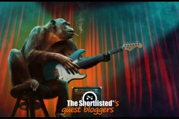 Weird funny monkey smoking cigarettes and playing guitar