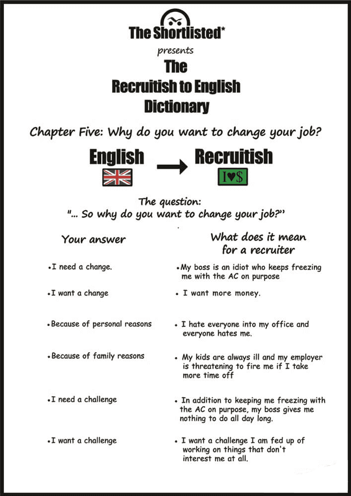 Job interview question funny checklist: why do you want to change job?